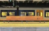 Sucupira amarela Stationsbank Den Haag, afgewerkt met transparante beits