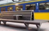 Sucupira amarela Stationsbank Rotterdam, afgewerkt met donker gepigmenteerde beits
