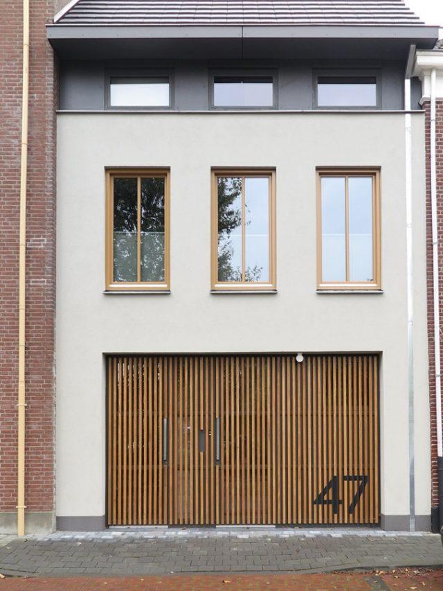 Overzicht Movingui FSC gevel en kozijnen voor woonhuis Den Bosch